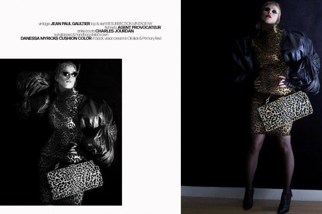 Singer Syd Suuux photographed in a vintage Jean Paul Gaultier leopard top and skirt. Photography by Alexander Thompson for Ponyboy magazine.