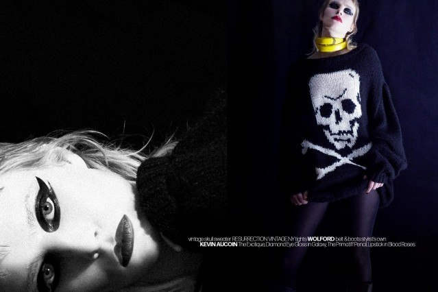 Singer Syd Suuux photographed in a vintage skull sweater. Photography by Alexander Thompson for Ponyboy magazine.