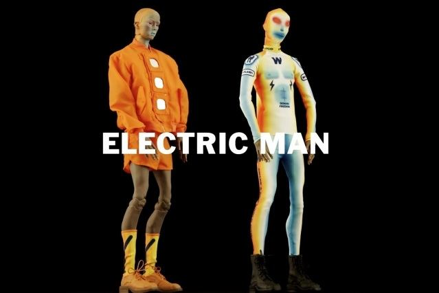 """Electric Man"" look from Walter Van Beirendonck Spring/Summer 2021 collection, ""Mirror Ghosts Whisper Loud"". Ponyboy magazine."