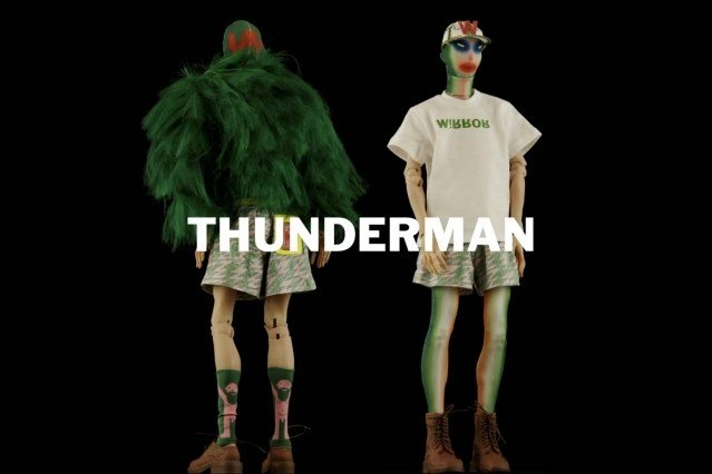 """""""Thunderman"""" look from Walter Van Beirendonck Spring/Summer 2021 collection, """"Mirror Ghosts Whisper Loud"""". Ponyboy magazine."""