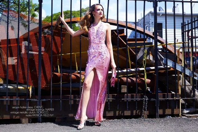 Model Izzy Pawline wears a sequin halter dress by Cheng, for Ponyboy magazine. Photographed by Alexander Thompson.