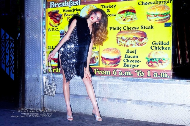 Model Izzy Pawline wears a sequin dress by Cheng, for Ponyboy magazine. Photographed by Alexander Thompson.