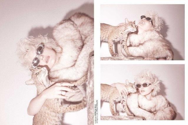 Model Elliot Brakebill photographed in a vintage fur. Photography by Alexander Thompson for Ponyboy magazine.
