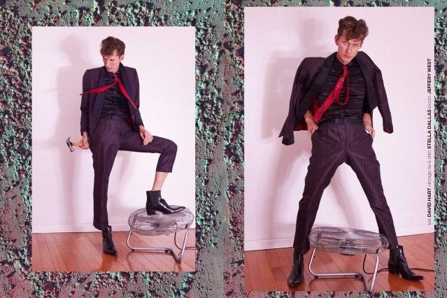 Artist Dean Dempsey photographed wearing a suit by designer Davit Hart. Portrait by Alexander Thompson for Ponyboy magazine.