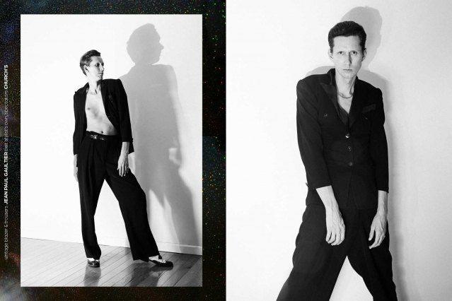 Artist Dean Dempsey photographed wearing vintage Jean Paul Gaultier. Portrait by Alexander Thompson for Ponyboy magazine.