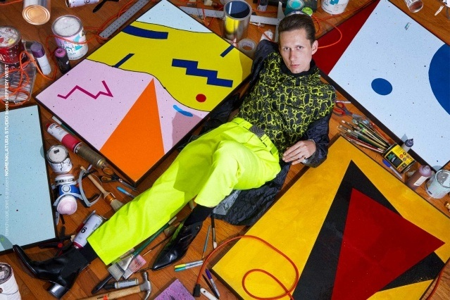 Artist Dean Dempsey photographed amongst his artwork. Portrait by Alexander Thompson for Ponyboy magazine.