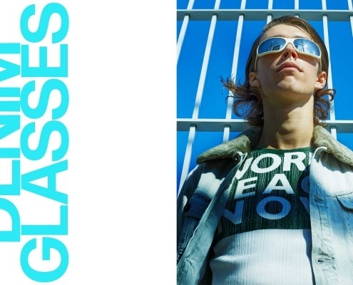 Denim Glasses menswear editorial starring model William Schmacker. Styling by Matthew Bartow and photography by Alexander Thompson.