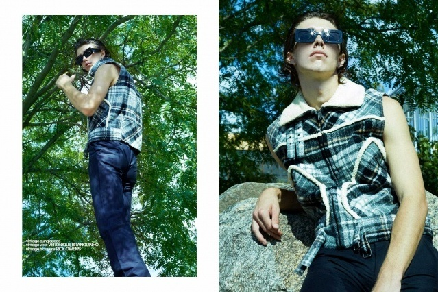 Denim Glasses vintage menswear editorial with male model William Schmacker. Photographed by Alexander Thompson and styling by Matthew Bartow.