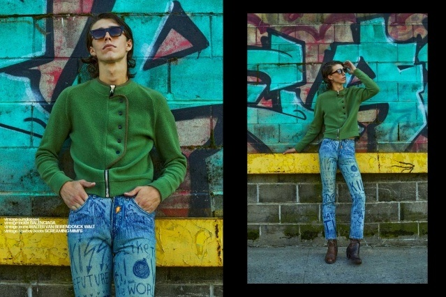 Denim Glasses vintage menswear editorial with model William Schmacker. Photography by Alexander Thompson, with styling by Matthew Bartow.