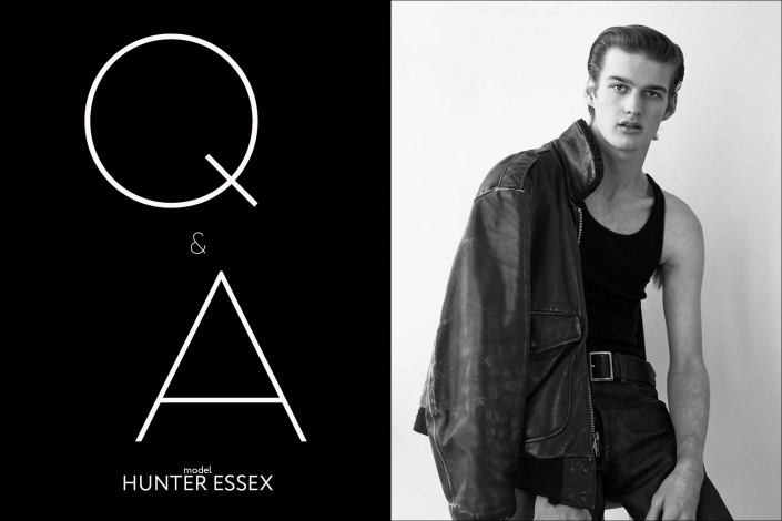 Ponyboy Q&A with model Hunter Essex - opening spread. Photography & styling by Alexander Thompson.