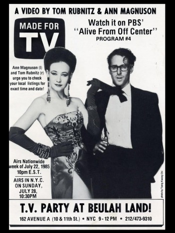 Flyer of Ann Magnuson & Tom Rubnitz, Made for TV - circa 1985.