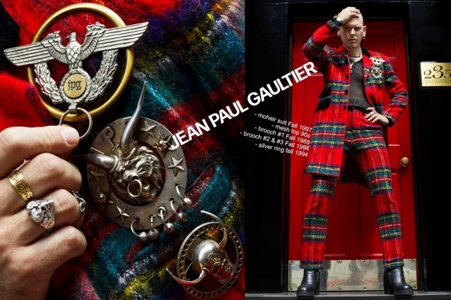 Lord Warg photographed in a vintage Jean Paul Gaultier mohair suit for Ponyboy. Photography by Alexander Thompson.