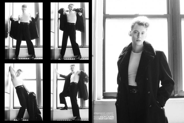 Actor/singer Jack James Busa from UNI, with photography & styling by Alexander Thompson for Ponyboy. Spread 1.