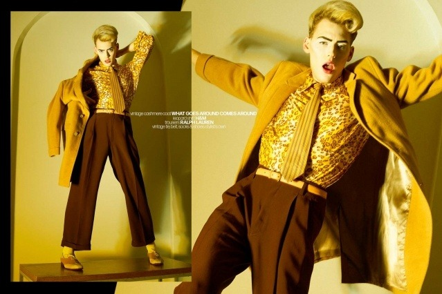 Actor/singer Jack James Busa from UNI, with photography & styling by Alexander Thompson for Ponyboy. Spread 9.
