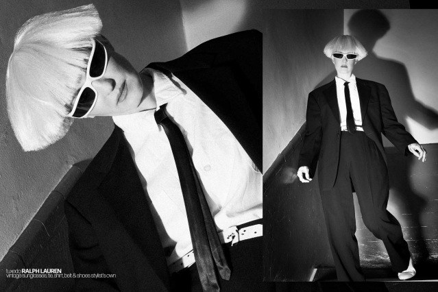 Theo Kogan from Lunachicks for Ponyboy. Photography by Alexander Thompson, with styling by Maria Ayala. Theo wears a Ralph Lauren tuxedo.