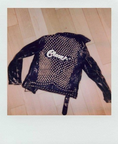 Polaroid of Kate Clover's leather jacket by Alexander Thompson for Ponyboy.