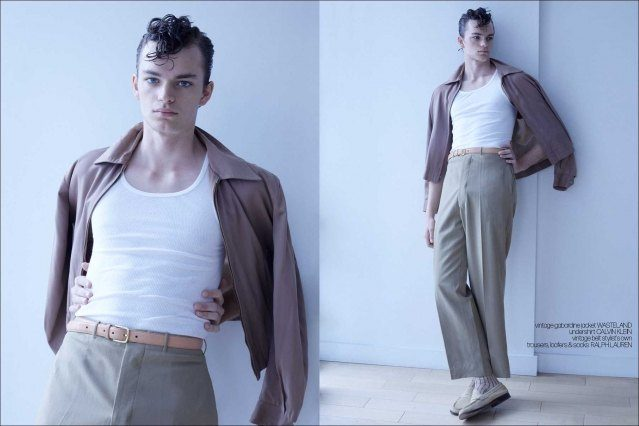 Model Jake Lively from Stage Management New York. Photographed for Ponyboy by Alexander Thompson. Spread #2.
