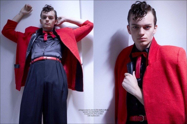Model Jake Lively from Stage Management New York. Photographed for Ponyboy by Alexander Thompson. Spread #3.