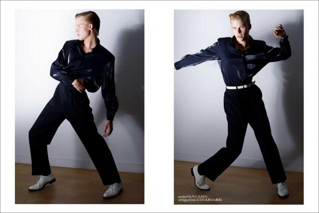 Crawford model Hunter Nance photographed for Ponyboy by Alexander Thompson. Spread #11.